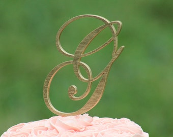 Gold Monogram Wedding Cake topper - Wooden cake topper - Personalized Cake topper