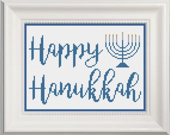 Happy Hanukkah with Menorah Cross Stitch Pattern -- Instant Digital PDF Download!
