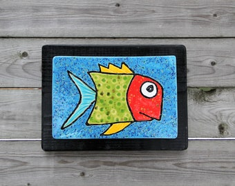 fish tile, fish art, ceramic fish tile, painted fish, fish painting, whimsical fish, handmade fish
