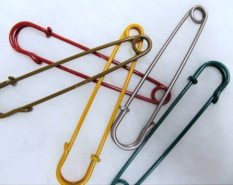 "4"" colored kilt pins, steel pins, jumbo safety pins, safety campaign, choose your quantity"