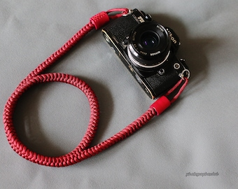 Dark red 12mm Hand knit Chinese knot handmade Camera neck strap