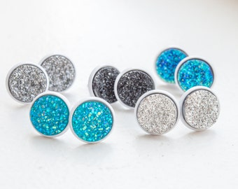 Druzy Stud Earrings Simple Studs White Druzy Studs Black Druzy Blue Druzy Studs Unique Studs Simple Stud Earrings Small Stud Druzy Jewelry