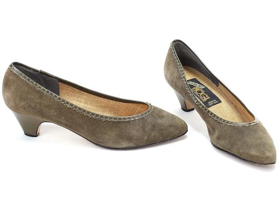 39 Linen Austrian Vintage Elegant 8 Folk Shoes EUR US Suede Moss with Green Slip Comfortable 70s 6 Shoes Ons Shoes UK 5 Inside size F1fpqf