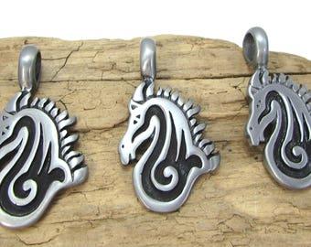 Horse Pendant, 45x24mm Single-Sided Horse Head Pendant, Jewelry Supplies, Item 112p