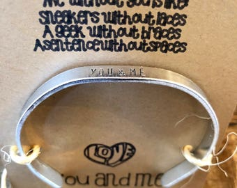 """Thin Cuff Bracelet """"Me and You"""""""