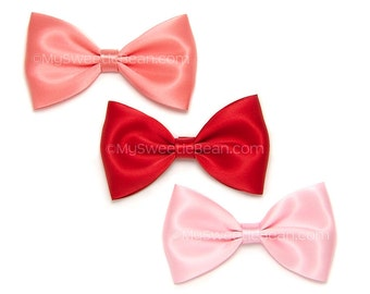 Set of 4 inch Satin Bows, Alice Bows, Bow Tie Hair Bow, Coral, Red, Pink, Set of 3 Satin Bows for Women, Girls, Choose Colors