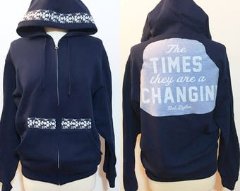 Blue Bob Dylan hoodie - upcycled zip up sweatshirt - The Times They Are A Changin' - Size MEDIUM