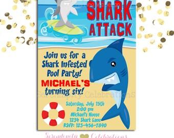 Shark Birthday Invitation, Birthday Invite, Ocean Party Birthday Invite, Shark Invite, Shark attack birthday party, Shark Invitation, Sharks