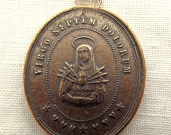 Bronze Our Lady of Sorrows w Veiled Face of Jesus Medal, 7 Sorrows, Seven Sorrows, Mater Dolorosa