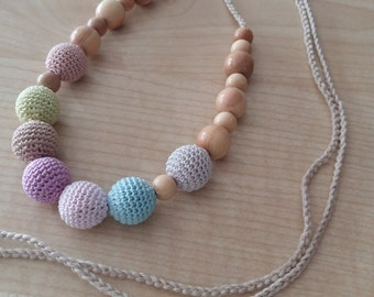 Breastfeeding nursing.Nursing necklace.Breastfeeding necklace.Teething toy.Pink necklace.Teething necklace.Organic cotton.Bio.Juniper.