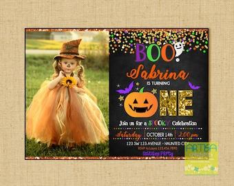 Halloween Birthday Invitation, 1st Birthday Halloween Invitation, 1st Birthday Halloween Party Invitation, ANY AGE Halloween Birthday Invite