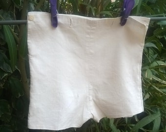 Antique Boy Shorts Lined French Handmade White Ribbed Cotton Antique 1930 Clothing for Costumes Movies Plays #sophieladydeparis