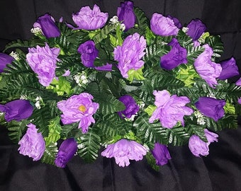 Cemetery Tombstone Saddle Made with purple Roses and Lavender Peonies