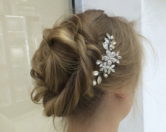 Bridal hair comb with crystals, Bridal headpiece, Bridal hair piece, Leaf hair comb