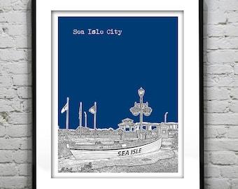 Sea Isle City New Jersey Shore Poster Print Art NJ Skyline Jersey Shore Version 4