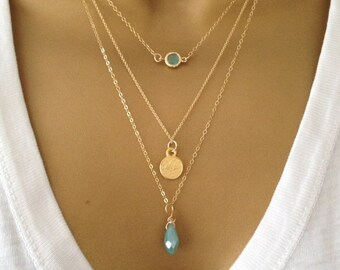 3 Gold Layering Necklaces uk Shop **ALSO IN SILVER**   Birthday Gift  Mothers Day Gift