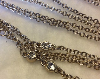 Vintage signed express crystals chains double strand necklace