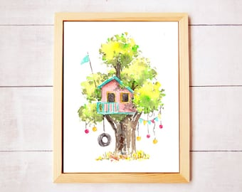 Treehouse Series 8 Watercolor Art Print - Digital Download