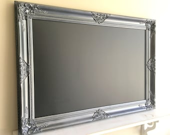 Gunmetal CHALKBOARD Dark Gray Framed MAGNETIC Chalkboard Black Decorative Chalkboard Office Wall Organizer Metal Antique Silver Decor