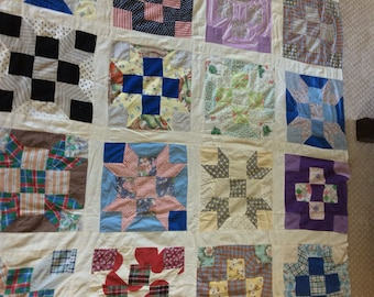 Antique quilt top.  Farmhouse quilt top made with some feedsack fabric.  Hand and machine stitched.  C1925-1935 few different patterns.