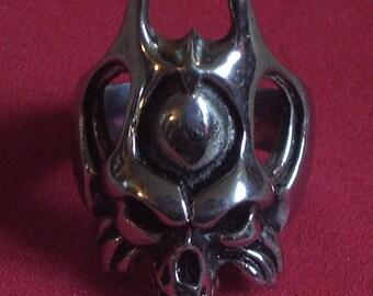 Stainless Steel Biker Skull Ring. Size 11.