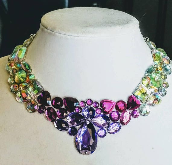Lavender Lace - rhinestone bling necklace, illusion necklace, rhinestone bib, floating necklace, rhinestone statement necklace