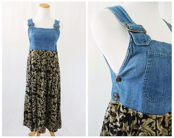 Overalls Style Dress 90's // Babydoll Grunge Denim Jean Dress // Small