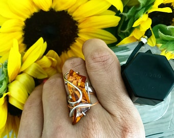 Ring large amber, amber jewelry, amber ring silver ring, amber, large ring, cognat ring, natural amber, Sterling Silver, Amber Jewerly