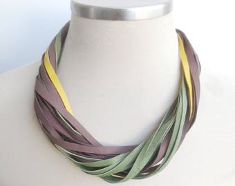 Multi Strand Leather Bib Necklace, Brown Green Yellow Necklace, Leather Jewelry, Casual Women's Necklace
