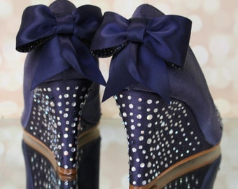 Navy Blue Wedding Shoes, Blue Wedding Shoes, Wedding Wedges, Wedge Wedding Shoes, Something Blue, Something Blue Wedding Accessories, Wedges