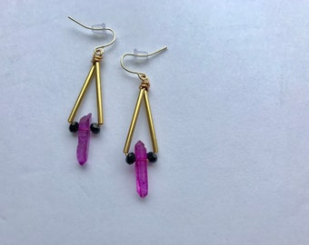 Purple Crystal Quartz Triangle Pendant Earrings