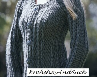 Ladies Ribbed Sweater, Super Chunky Knit, Easy & Quick Knit, Plus Sizes, Knitting Pattern. PDF Instant Download.