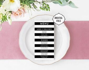 Printable Menu, stripes, minimal menu, black and white wedding menu, menu, stripes wedding menu, printable wedding menu, modern menu