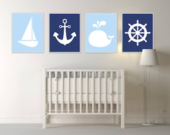 Nautical wall art for nursery, Nautical wall art set of 4 prints, Baby nautical wall decor,set includes boat, anchor, whale and wheel - H385