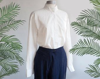 Vintage shirt / white vintage embroidered blouse / Kurt Kellerman