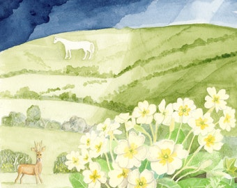 Westbury White Horse with primroses - greetings cards - pack of 6