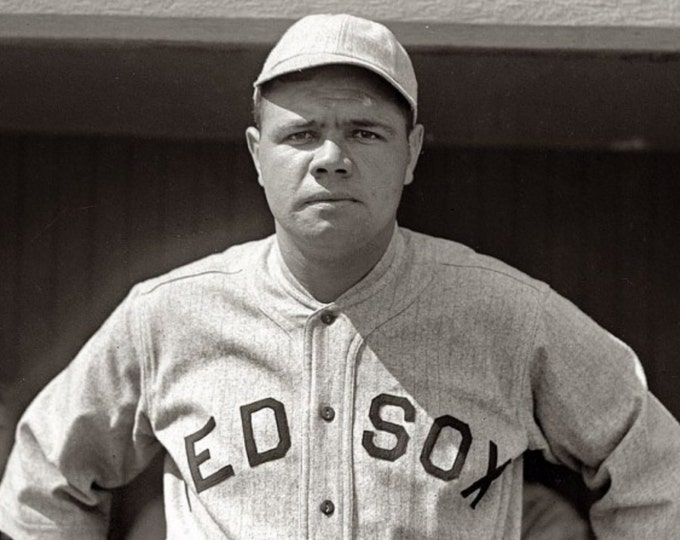 Babe Ruth as a Player for the Boston Red Sox in 1918 - 8X10 or 11X14 Photo (AA-843)