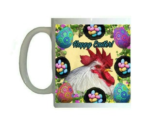 White Chicken Hen Easter Basket Easter Egg Pattern 11oz Ceramic Coffee Mug