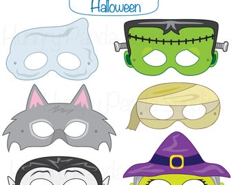 Halloween Masks, halloween costume, halloween printable, monster masks, witch mask, ghost mask, werewolf, vampire, mummy, frankenstein mask