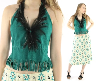 Vintage 80s Suede Halter Top Hippie Boho Festival Blouse Fringe Feathers Turquoise 1980s Open Back Small Medium S M
