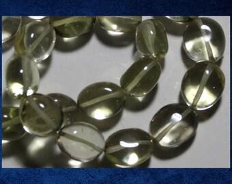 "Quartz, Lemon - 10"" strand of 8x10mm smooth oval.  Approx 24 natural gemstone stone beads. #QTZ-002"