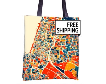Tel Aviv Map Tote Bag - Israel Map Tote Bag 15x15