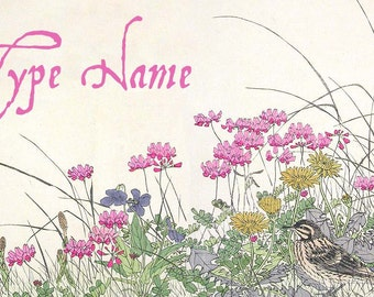 Wildflowers Place Card Template