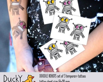 Set of 3 temporary tattoos Doodle robots. Kids tattoos with funny retro robots, robots party favors and birthday party tattoo booth supply
