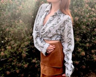 70s Suede Tiered Skirt