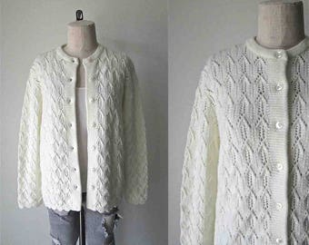 Vintage 1960's cardigan WHITE DIAMOND textured sweater - L