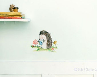 Woodland nursery, forest art, Bookish Hedgehog, wall decal, Kit Chase artwork, reusable