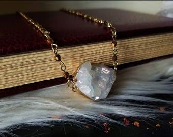 Aura Quartz Pendant ~ Angel Aura Necklace ~ Aura Crystal ~ Aura Quartz Cluster ~ Rainbow Quartz Necklace ~ Electroplated