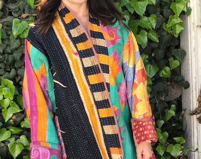 Beautiful plus size reversible cotton kantha coat
