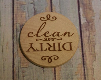 Clean or Dirty Engraved Wood Magnet - Dishwasher Magnet